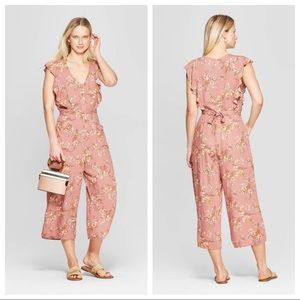 Xhilaration Floral V-Neck Tie Front Jumpsuit Large